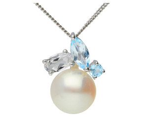 9ct White Gold Cultured Pearl & Topaz Pendant
