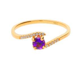 18ct Yellow Gold 0.25ct Amethyst & Diamond Crossover Ring