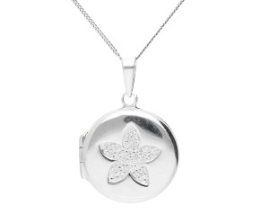 Sterling Silver Circle Locket With Stone Set Flower Design