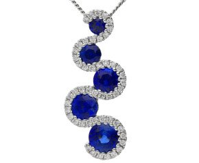18ct White Gold 0.95ct Sapphire & 0.15ct Diamond Fancy Squiggle Pendant