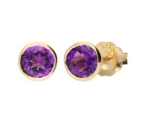 9ct Yellow Gold 1.20ct Round Amethyst Solitaire Stud Earrings