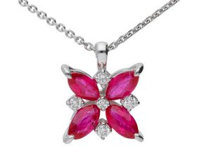 9ct White Gold 0.75ct Ruby & 0.10ct Diamond Flower Pendant