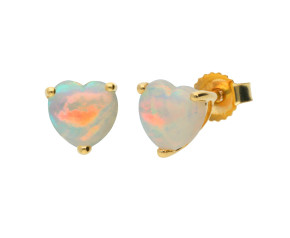 9ct Yellow Gold 0.40ct Heart Opal Solitaire Stud Earrings