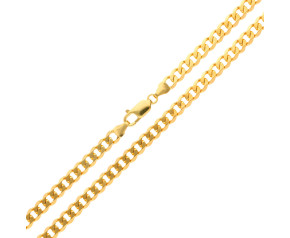 Men's 9ct Yellow Gold 6.7mm Filed Curb Chain