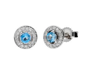 9ct White Gold 0.17ct Aquamarine & 0.11ct Diamond Cluster Earrings