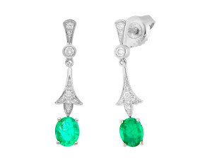18ct White Gold Emerald & Diamond Vintage Style Drop Earrings