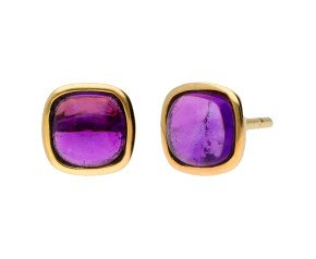 9ct Yellow Gold Amethyst Solitaire Stud Earrings