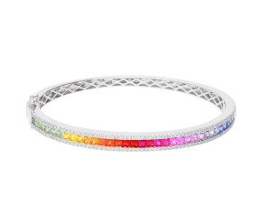 18ct White Gold 3.35ct Multi-coloured Sapphire & 0.70ct Hinged Bangle