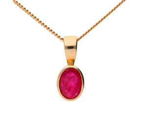 9ct Yellow Gold Ruby Solitaire Pendant