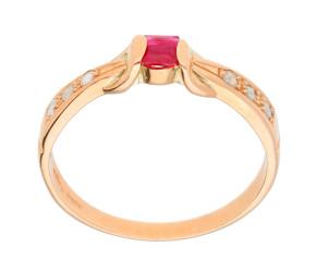 Handcrafted Italian 0.15ct Ruby & Diamond Ring