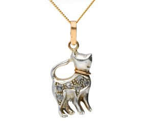 Handcrafted Italian 0.10ct Diamond Cat Pendant