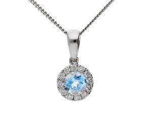 9ct White Gold 0.25ct Aquamarine & 0.10ct Diamond Cluster pendant