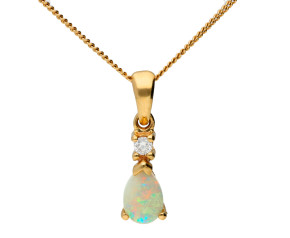 9ct Yellow Gold 0.20ct Opal & Diamond Pendant