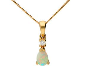 9ct Yellow Gold 0.20ct Opal & Diamond Pendant