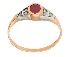 Handcrafted Italian 0.45ct Ruby & Diamond Ring