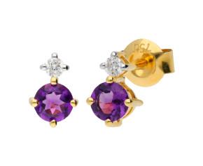9ct Yellow Gold 0.40ct Amethyst & 0.15ct Diamond Stud Earrings