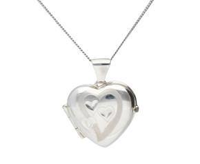 Silver Diamond Cut Heart Locket