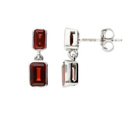 9ct White Gold Double Garnet Drop Earrings