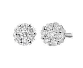 Pre-owned Platinum 0.35ct Diamond Cluster Stud Earrings