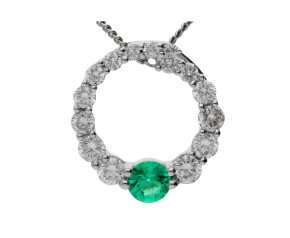 18ct White Gold 0.10ct Emerald & 0.30ct Diamond Circle Pendant