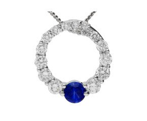 18ct White Gold 0.10ct sapphire & 0.30ct Diamond Circle Pendant