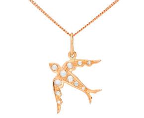 Handcrafted Italian 9ct Rose Gold Diamond Swallow Pendant