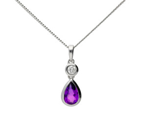 18ct White Gold 0.39ct Amethyst & 0.05ct Diamond Drop Pendant