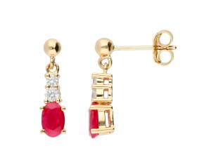 9ct Yellow Gold Ruby & Diamond Fancy Drop Earrings