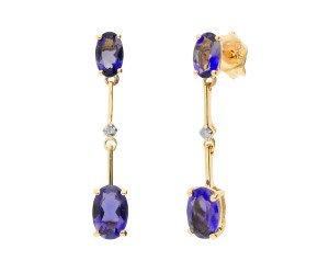 9ct Yellow Gold Iolite & Diamond Drop Earrings