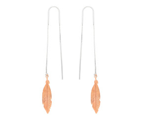 Sterling Silver & Rose Gold Plated Threader Feather Earrings