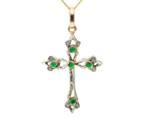Handcrafted Italian 0.15ct Emerald & Diamond Cross Pendant