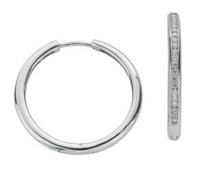 9ct White Gold 0.50ct Diamond Hoop Earrings