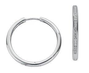 9ct White Gold 0.50ct Diamond Hoop Earrings