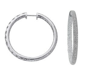 18ct White Gold 4.80ct Diamond Hoop Earrings