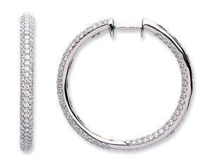 18ct White Gold 2.30ct Diamond Hoop Earrings