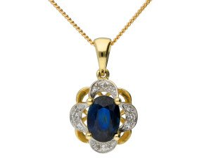 9ct Yellow Gold 1ct Sapphire & Diamond Cluster Pendant