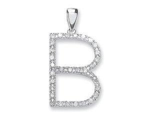 9ct White Gold Diamond Letter 'B' Pendant