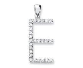 9ct White Gold Diamond Letter 'E' Pendant