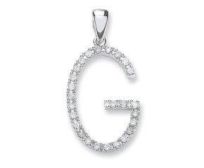 9ct White Gold Diamond Letter 'G' Pendant