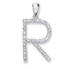 9ct White Gold Diamond Letter 'R' Pendant