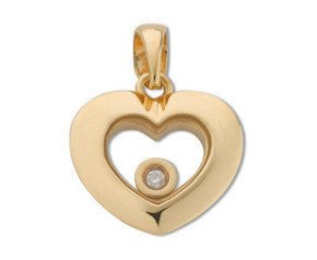 9ct Yellow Gold Floating Diamond Heart Pendant