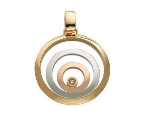 9ct Yellow, White & Rose Gold Floating Diamond Pendant