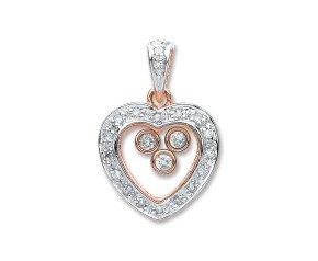 9ct Rose & White Gold 0.17ct Floating Diamond Heart Pendant