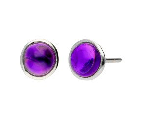 9ct White Gold Amethyst Solitaire Stud Earrings