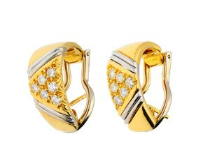 Pre-owned 18ct Yellow & White Gold 0.45ct Diamond Hoop Earrings