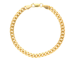 9ct Yellow Gold 5mm Classic Flat Curb Chain Bracelet