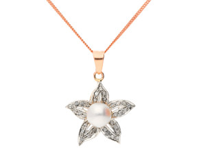 Handcrafted Italian 9ct Rose Gold Pearl & Diamond Flower Pendant