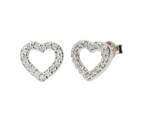 18ct White Gold Diamond Heart Stud Earrings