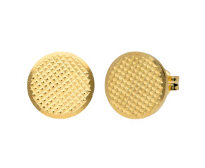 9ct Yellow Gold Pattern Engraved Disc Stud Earrings