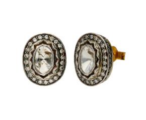Vintage Diamond Foiled Back Cluster Earrings